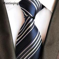 Mantieqingway Men's Silk Ties for Suits Striped Printed Classic 9cm <font><b>Corbatas</b></font> Bridegroom Vestidos Neckties for Adult Cravat Tie