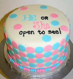 Cake inside is blue or pink. Maybe have the nurse write in on a slip of paper and seal it in an envelope and then have a reveal party?