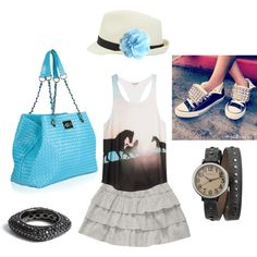 """""""Holiday Chic"""". What to wear on your day off #blue #handbag #style"""