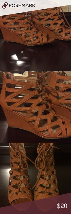 Wedge Sandals Charming Charlie 3 1/2 inch wedge sandals. Brown. lace up. Zip up back. Charming Charlie Shoes Wedges