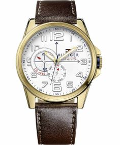 love this brown leather strap watch. Amazing Watches, Beautiful Watches, Cool Watches, Watches For Men, Tommy Hilfiger Watches, Brown Leather Strap Watch, Men Accesories, Fine Watches, Men's Watches