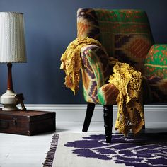 New Peony Rug in Aubergine! That chair is amazing!  With a beautiful peony rug, wow!