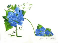 Hydrangea and Vine Shoe - Print enhanced with watercolor paint and signed before shipping.  Shipping is free and will be refunded after payment.