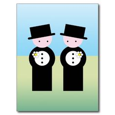 Two caucasian grooms post card