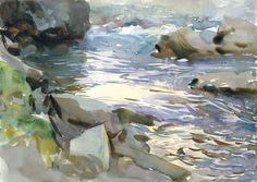 John Singer Sargent Stream and Rocks