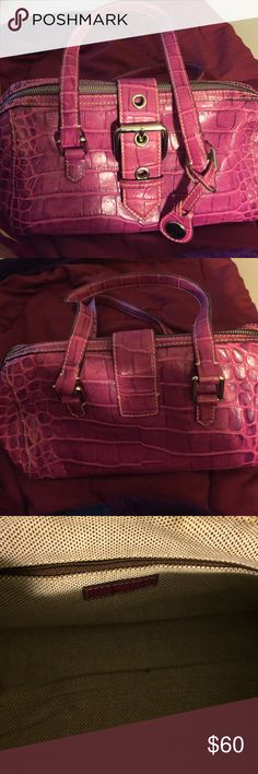 Dooney and Bourke fuchsia leather pocketbook. Dooney and Bourke fuchsia leather pocketbook. Used once. Crocodile skin. Dooney & Bourke Bags Shoulder Bags