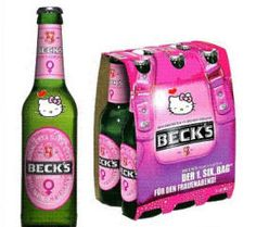 great beer but how? hello kitti, food, drink, beck beer, pink, hellokitti, hello kitty, thing, kitti beer