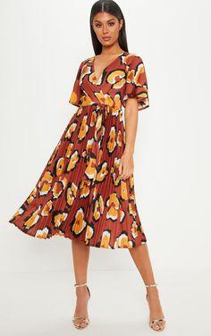 e287e86ba875 Rust Oversized Leopard Print Pleated Midi Dress