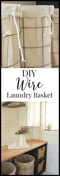IY wire laundry baskets with drop cloth liners.  These were made in one afternoon and cost less than 40 dollars!   Twleveonmain.com