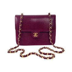 feac373b3d61 Vintage Chanel Burgundy Lizard Single Flap Bag | From a collection of rare  vintage shoulder bags. 1stdibs.com