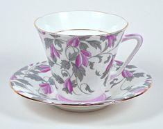Royal Grafton Footed Teacup & Saucer, Purple Pink & Gray, Circa 1949. Vintage English Bone China Teacup & Saucer.