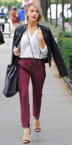 Looked polished like Julianne Hough and pair your leather jacket with fall elastic-waist trousers and a white blouse.