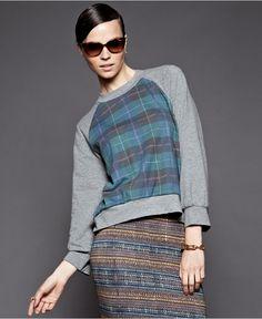 Cynthia Rowley Sweater, Long-Sleeve Crew-Neck Plaid Top - Womens Impulse Sweaters - Macy's