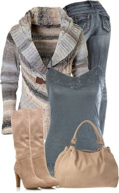 """Blue and Beige""... cute - Click image to find more Women's Fashion Pinterest pins"
