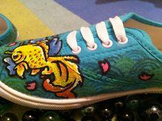 japanese style shoes light blue princess gold fish