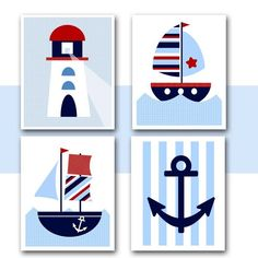 NAUTICAL WALL ART Printable. Boats, Lighthouse, Anchor for Nursery, Kids room or Baby room wall. $18.00, via Etsy.