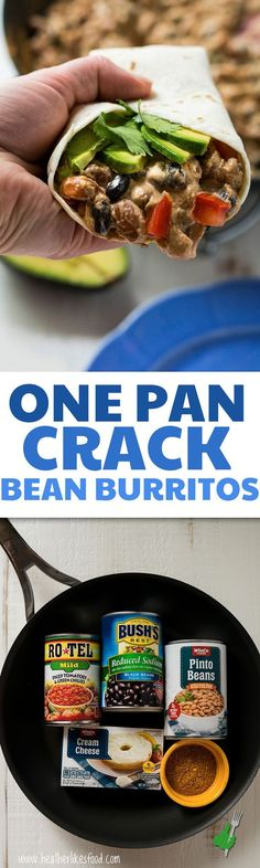 If you're looking for a quick and easy meal, this is it! These One Pan Crack Bean Burritos are so creamy and flavorful that you won't be able to stop eating them! , Follow PowerRecipes For More.