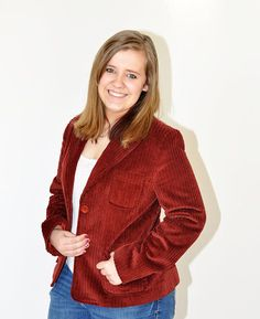 Vintage 80s Wide Wale Corduroy Blazer Wine by Continual on Etsy, $24.00
