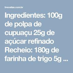 """Ingredientes: 100g de polpa de cupuaçu 25g de açúcar refinado Recheio: 180g de farinha de trigo 5g de sal 25g de cacau em pó 350g de chocolate meio amargo 190g de manteiga 10g de café solúvel 200g de açúcar 150g de açúcar mascavo 5 ovos 5 ml de extrato de baunilha castanha-do-pará a gosto Preparo: … Continue lendo """"RECEITA BOLO DE CHOCOLATE COM GELEIA DE CUPUAÇU E CASTANHA-DO-PARÁ"""""""