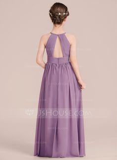 A-Line/Princess Scoop Neck Floor-Length Ruffle Zipper Up Spaghetti Straps Sleeveless Wisteria Chiffon Junior Bridesmaid Dress