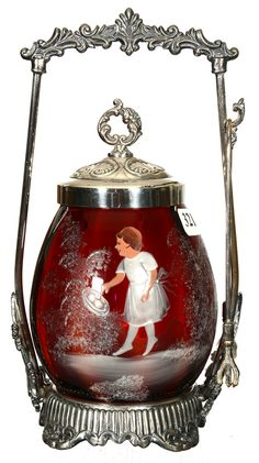 "9"" Pickle Castor - Deep Cranberry And Amber Striped Art Glass Insert With Mary Gregory Scenic Decor - Set On Silverplate Frame"