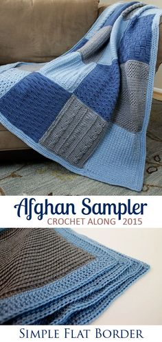 Simple, contemporary border for the Crochet Along Afghan Sampler for 2015 from The Inspired Wren | CAL with two crochet squares per month for a complete blanket in one year