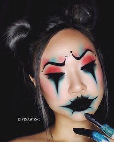 10 Stunning Makeup Ideas for Halloween Creepy Makeup, Clown Makeup, Sfx Makeup, Cosplay Makeup, Makeup Brushes, Makeup Eyeshadow, Cute Halloween Makeup, Scarecrow Makeup, Halloween Costumes