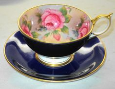 AYNSLEY ENGLAND PINK GOLD ROSES COBALT BLUE   TEA CUP AND SAUCER