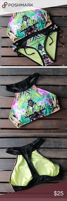 Bikini Lab Floral Bikini Set This is so fun for the sun...bask in this tropical piece while you relax in the sun. Fully padded bras, mesh at the back.. Swim Bikinis