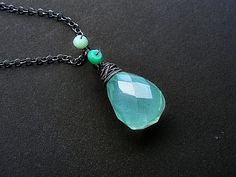 Green chalcedony necklace, green chalcedony silver necklace, chalcedony chrysoprase pendant, wire wrap pendant necklace, chalcedony jewelry