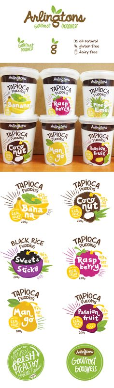 The font of each flavor looks very nice overlayed on it's fruit. The flow works very well in this product