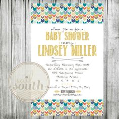 Tribal Baby Shower Invitation Custom Baby Shower by sailsouthhome, $15.00 #tribal #gender #neutral
