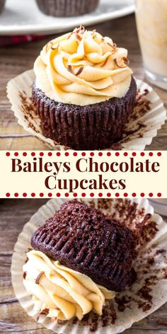 These Baileys Cupcakes are the perfect grown-up cupcake recipe - moist, fudgy chocolate cupcakes with fluffy Irish cream frosting and completely irresistible. deserts recipe baking Baileys Cupcakes - Moist Chocolate Cupcakes with Irish Cream Frosting Easy Cheesecake Recipes, Easy Cookie Recipes, Frosting Recipes, Baking Recipes, Dessert Recipes, Dinner Recipes, Baking Desserts, Health Desserts, Food Cakes