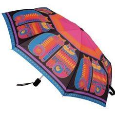Laurel Burch Compact Umbrella 42 Canopy Auto Open-Rainbow Cat Cousins,$28.75
