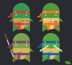 Teenage Mutant Ninja Turtles illustration by Jamie Roberts. I enjoy his simplistic art style. This particular piece reminds me of the old childhood toys that are collecting dust in the. Teenage Turtles, Teenage Mutant Ninja Turtles, Nerd Art, Nerd Geek, Designer Toys, Geek Out, Interactive Design, Tmnt, Geek Stuff