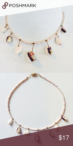 """Heishi Shell Necklace: 7 Shells Classic heishi shell necklace with Metal Accents. Excellent vintage condition-never used. Reminiscent of old surfer days. Total length: 15"""". Other styles available. Vintage Jewelry Necklaces"""