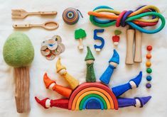 Add some color to your play with these fun wooden Waldorf Toys. Green America, Wooden Rainbow, Natural Toys, Waldorf Toys, Creative Play, Wooden Toys, Dolls, Fun, Handmade