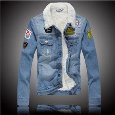 Plus Thick Velvet Denim Jacket Men 2015 Winter New European and American Style…