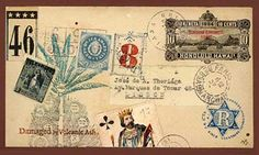 Nick Bantock's mail art makes me want to pack a bag and run away to somewhere that has bazaars.