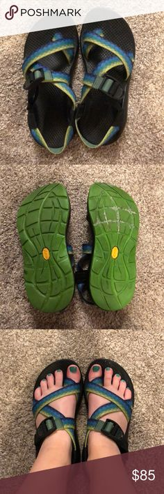 Women's Chaco single strap sandals Gently used! Small amount of wear noted to one of the straps on the right shoe (see images). These were my very first pair of Chacos and are probably the least worn out of my whole collection! I am an avid Chaco wearer, so my heart is breaking to see these go 😢 Chaco Shoes Sandals