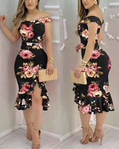 Product Measurements:S=Bust:31.1(Inch); Hips:31.5(Inch); Top Length:38.6(Inch); Top Waist:25.2(Inch); M=Bust:32.7(Inch); Hips:33.1(Inch); Top Length:39.0(Inch); Top Waist:26.8(Inch); L=Bust:34.3(Inch); Hips:34.6(Inch); Top Length:39.4(Inch); Top Waist:28.3(Inch); XL=Bust:35.8(Inch); Hips:36.2(Inch); Top Length:39.8(Inch); Top Waist:29.9(Inch); Product Details #Polyester #Slim Fit Style: Chic,Sexy Type: Mermaid Material: Polyester Neckline: Off the Shoulder Sleeve Style: Sleeveless Length: Midi P Trendy Dresses, Casual Dresses, Fashion Dresses, Summer Dresses, Trend Fashion, Look Fashion, Chic Type, Black Bodycon Dress, Business Dresses