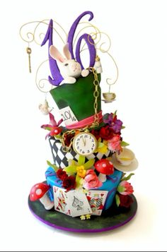 Sweet sixteen Alice in wonderland cake