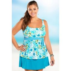 Inspired by the beautiful barrier island off the coast of Georgia, The Tybee Island Plus Size Underwire Tankini is a lovely namesake.  This swim top's classic style provides flattering coverage for every figure.