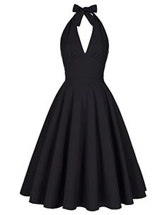 c9795bd6ff80 Vintage Sleeveless Swing Rockabilly Party Dresses Black Size M BP1661 * You  can get more details