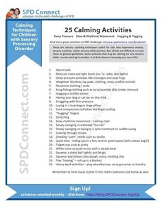 Spd child- calming activities