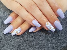 periwinkle and daisy acrylic nails periwinkle and daisy acrylic nails Periwinkle Nails, Purple Acrylic Nails, Acrylic Nails Coffin Short, Best Acrylic Nails, Acrylic Nail Designs, Cute Gel Nails, Edgy Nails, Stylish Nails, Swag Nails