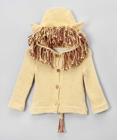 Hooded Gold Lion Sweater by Toto Knits on today! Animal Sweater, Comfy Pants, Sweater Making, Organic Cotton, Knit Crochet, Kids Fashion, Lion, Girl Outfits, Chiffon