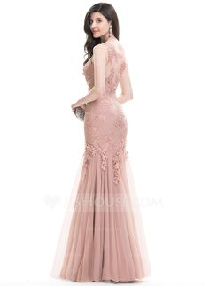 Trumpet/Mermaid Scoop Neck Floor-Length Zipper Up Regular Straps Sleeveless No Other Colors Spring Summer Fall General Plus Tulle Lace US 2 / UK 6 / EU 32 Evening Dress Tulle Prom Dress, Lace Evening Dresses, Lace Dress, Tulle Lace, Evening Gowns, Vestidos Fashion, Fashion Dresses, Modest Dresses Casual, Formal Dresses