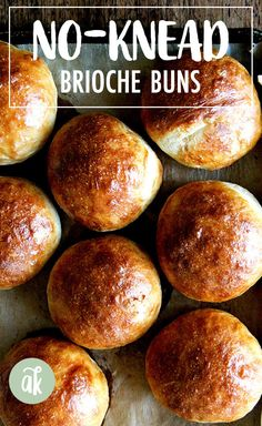 The Best, Easiest No-Knead Brioche Buns These are the best and easiest brioche buns you will ever make — the no-knead dough seriously comes together in 10 minutes (or less!), and the buns can be ready to shape in hours. You also can let the dough rise Bread Bun, Bread Rolls, Bread Toast, Bread Recipes, Cooking Recipes, Cooking Kale, Cooking Bread, Cooking Turkey, Brioche Rolls