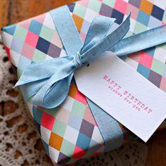 Double sided gift wrap - Floral bouquet / Neon diamonds + Neon Birthday Letterpress Tags by Bespoke Letterpress